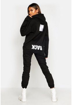 Dam Black Back Print Slogan Hoody