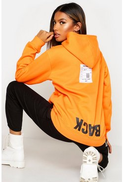 Orange Back Print Slogan Hoodie
