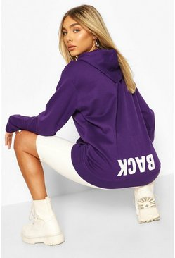 Womens Purple Back Print Slogan Hoodie