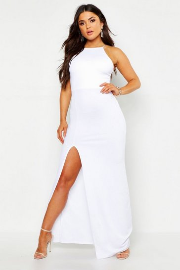 Womens White High Neck Split Side Maxi Dress