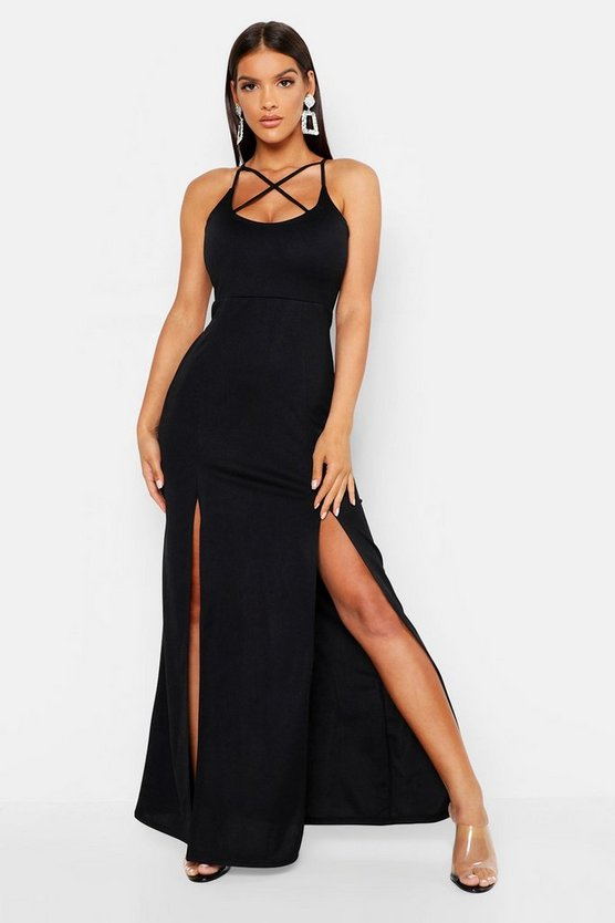 Womens Black Strappy Plunge Maxi Dress