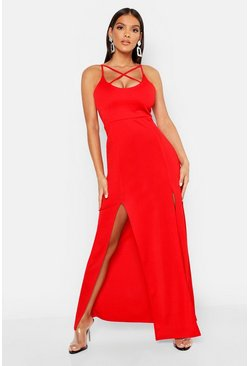 Red Strappy Plunge Maxi Dress