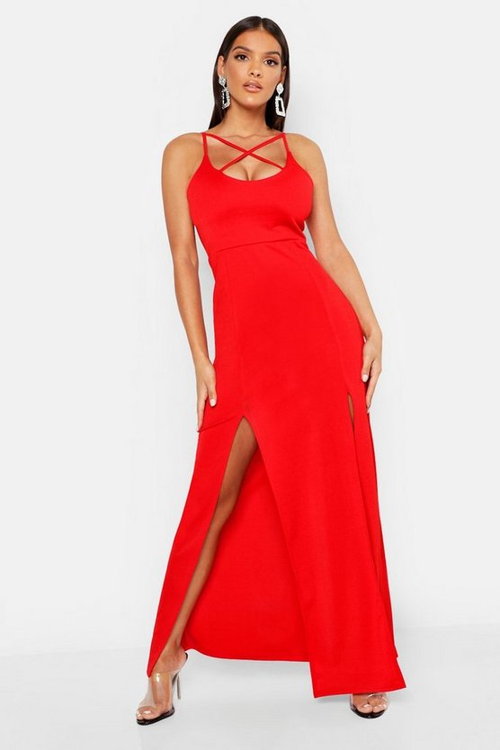 Womens Red Strappy Plunge Maxi Dress