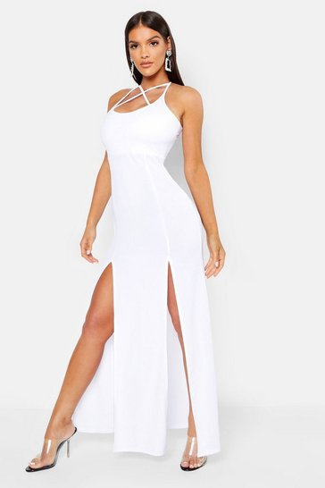 Womens White Strappy Plunge Maxi Dress