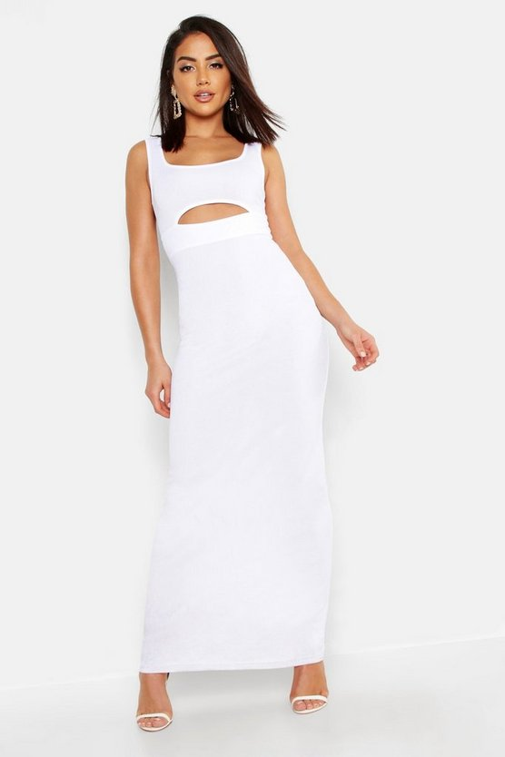Womens White Cut Front Round Neck Maxi Dress