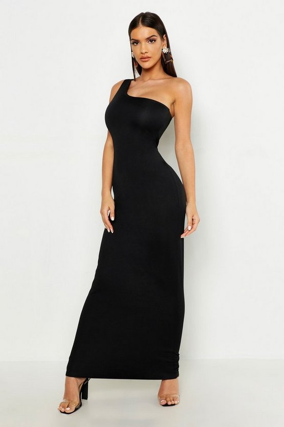 Womens Black One Shoulder Maxi Dress