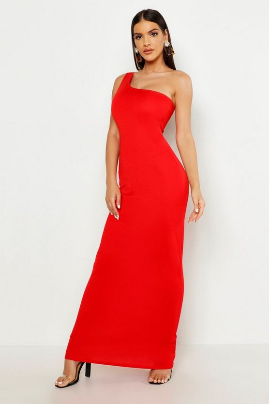 Womens Red One Shoulder Maxi Dress