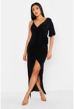 Womens Black One Shoulder Slinky Maxi Dress