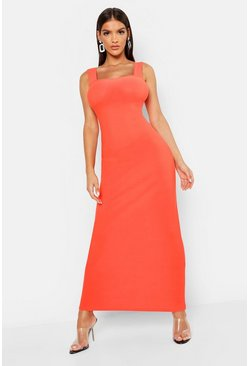 Womens Orange Square Neck Strappy Maxi Dress