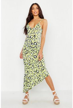 Womens Lime Bright Leopard Asymmetric Hem Maxi Dress