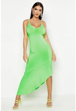 Apple green Asymmetric Hem Maxi Dress