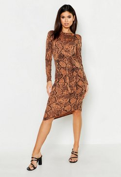Womens Tan Tie Front Snake Print Midi Dress
