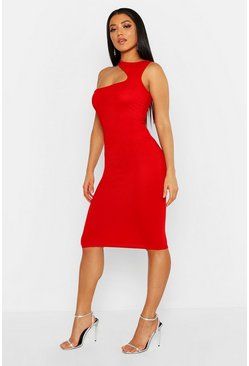 Womens Red Cut Out Neck Bodycon Midi Dress