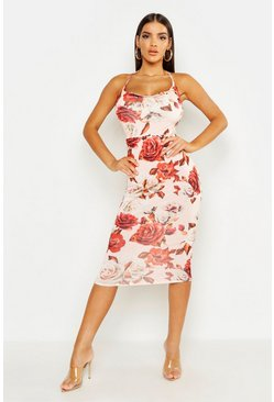 Womens Blush Large Floral Cowl Neck Midi Dress