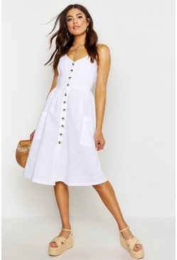 Womens White Linen Mix Button Front Dress