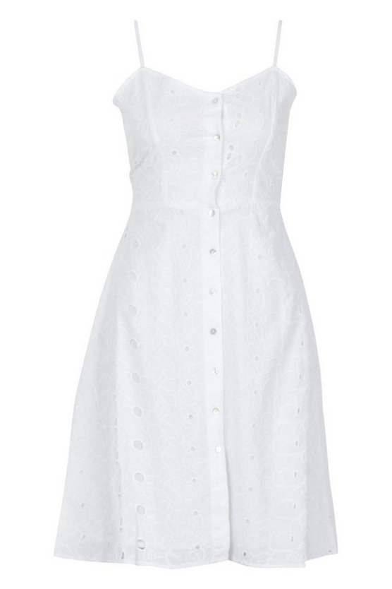 Broiderie Anglaise Cut Back Summer Dress by Boohoo