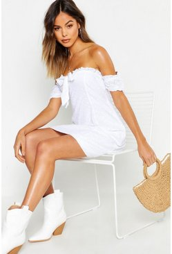 Womens White Broiderie Anglaise Tie Front Skater Dress