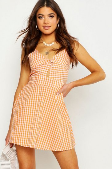 Womens Orange Strappy Gingham Bow Back Skater Dress