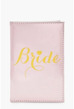 Womens Pink Bride Metallic Passport Holder