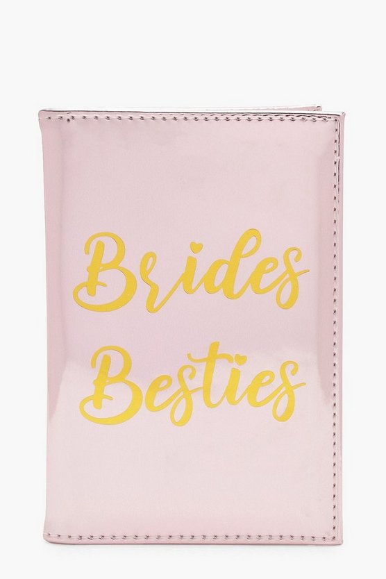 Womens Pink Brides Besties Metallic Passport Holder