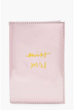 Womens Pink Miss to Mrs Metallic Passport Holder