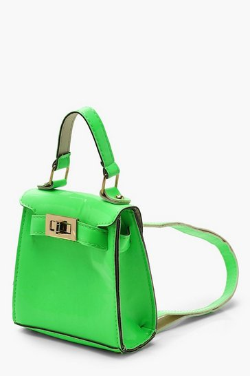 Womens Neon-green Neon Micro Mini Lock Rucksack
