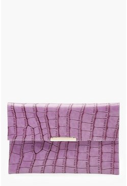 Womens Purple Croc Envelope Clutch Bag