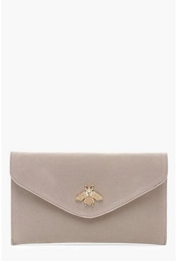 Womens Grey Metal Bug Envelope Clutch Bag