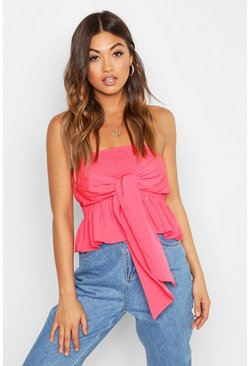 Womens Coral Tie Front Shirred Bandeau
