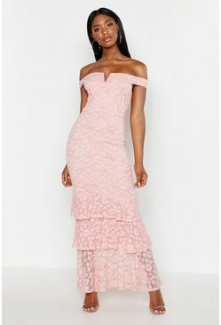 Womens Soft pink Lace Notch Front Bardot Maxi Dress