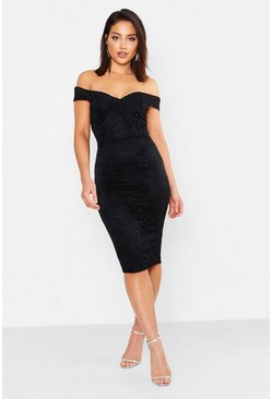 Womens Black Lace Sweetheart Neck Midi Dress