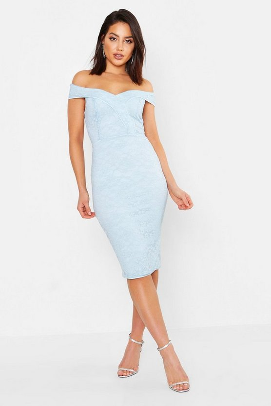 Blue Lace Sweetheart Neck Midi Dress