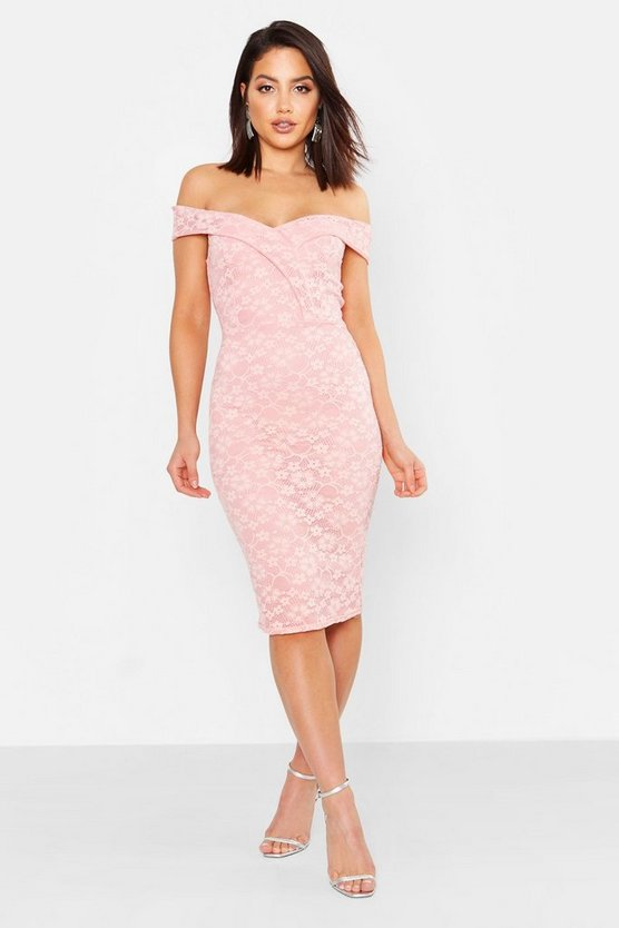 Womens Soft pink Lace Sweetheart Neck Midi Dress