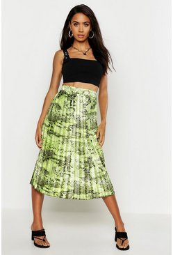Womens Lime Satin Snake Print Pleated Skirt