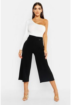 Womens Black Crepe D-Ring Culottes
