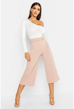 Womens Stone Crepe D-Ring Culottes