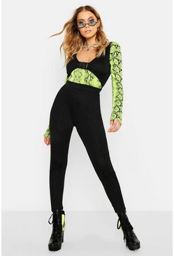 Womens Black Festival Buckle Cut Out Jumpsuit