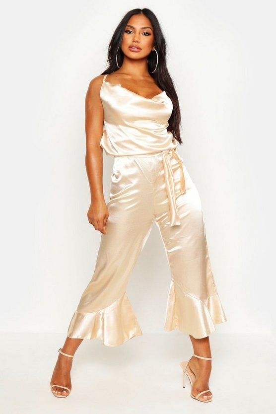 Womens Champagne Cowl Front Backless Satin Culotte Jumpsuit