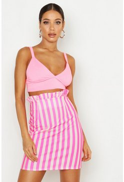 Womens Neon-pink Neon Stripe Ruffle Waist Mini Skirt