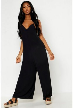 Womens Black Wide Leg Cami Culotte Jumpsuit