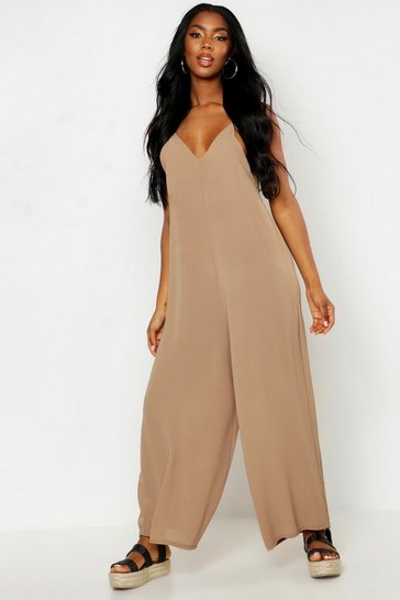 Womens Tobacco Wide Leg Cami Culotte Jumpsuit