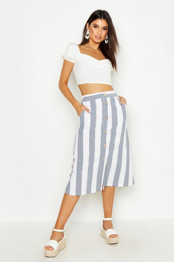 Blue Linen Stripe Button Through Midi Skirt