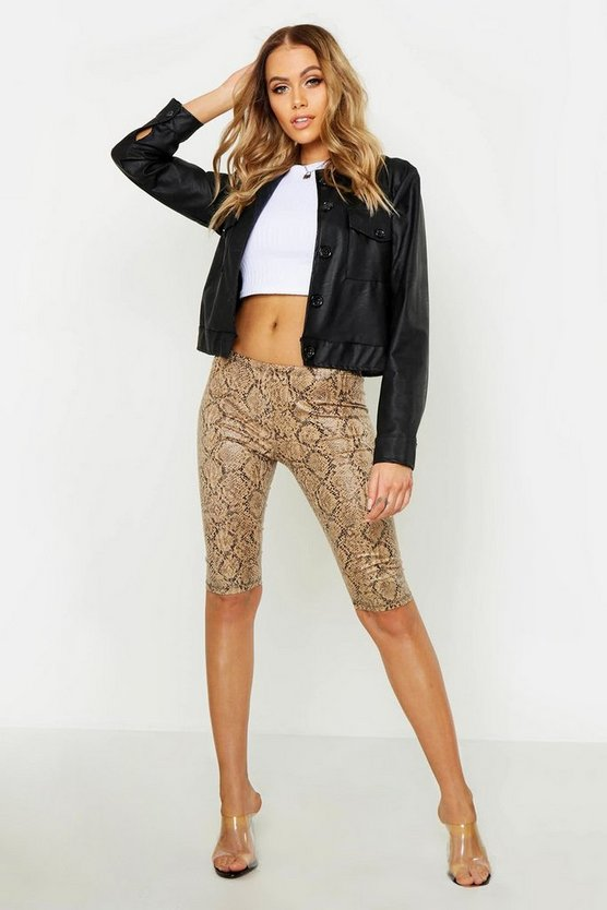 Womens Sand Leather Look Snake Print Cycling Short