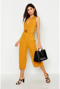 Womens Mustard Halter Neck O Ring Culotte Jumpsuit