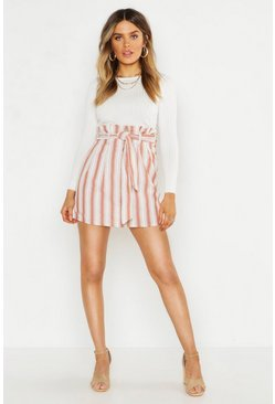 Womens Terracotta Linen Stripe Button Front Mini Skirt