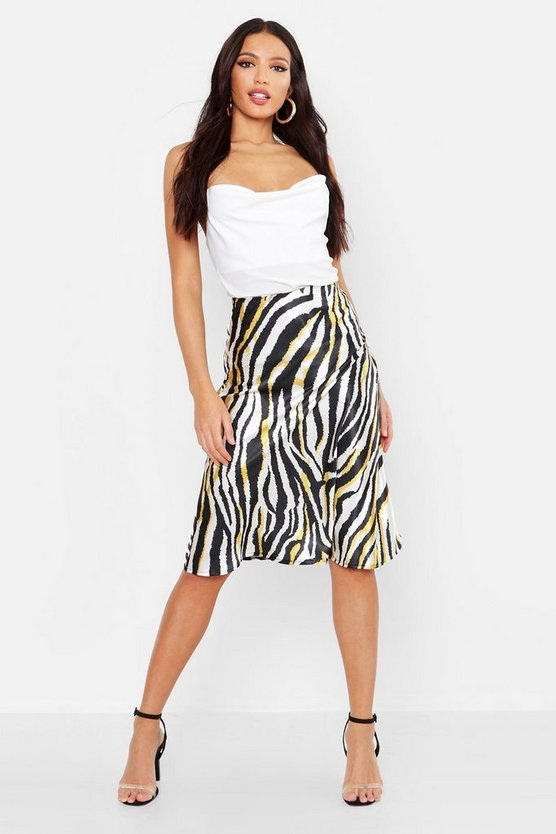 Womens Black Bias Satin Zebra Print Midi Skirt
