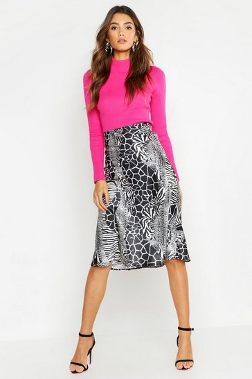 Womens Black Bias Mixed Animal Print Midi Skirt