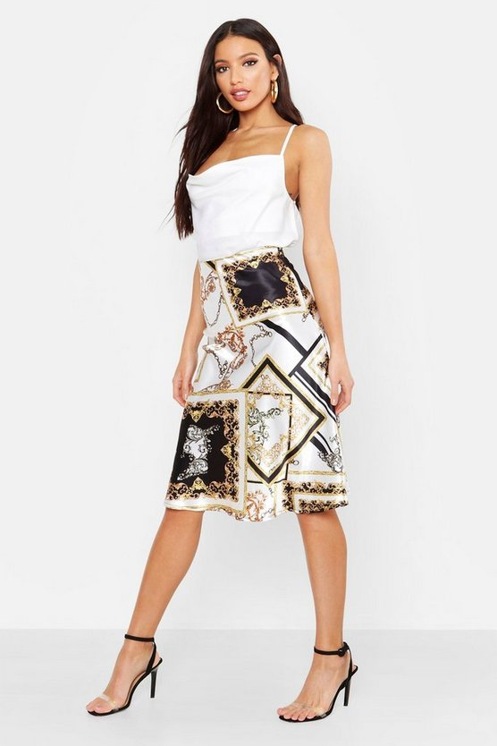 Bias Satin Chain Print Midi Skirt