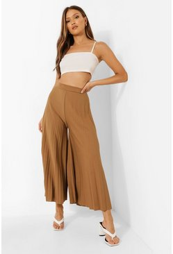 Chartreuse High Waist Pleated Wide Leg Culottes