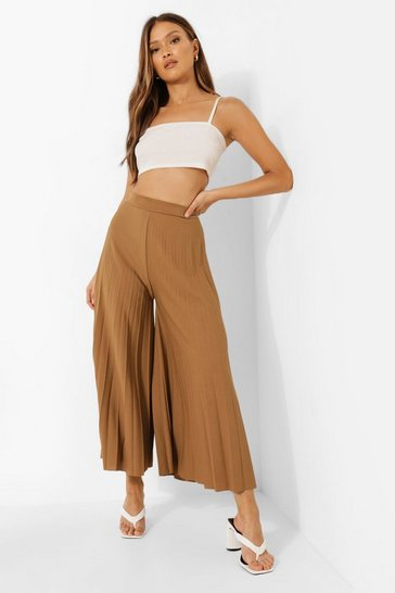 Womens Chartreuse High Waist Pleated Wide Leg Culottes